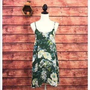 Free People Green Floral Open Back Mini Dress XS
